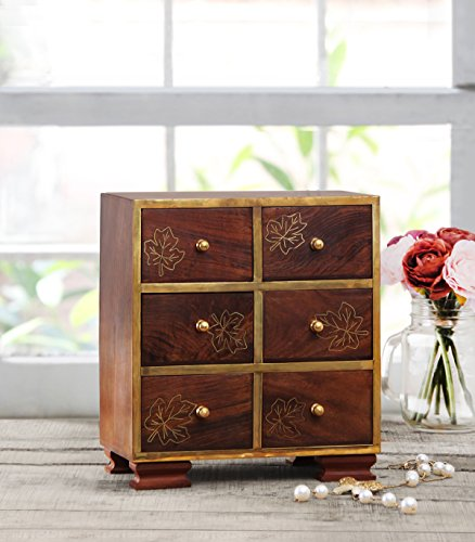 Wooden Armoire Chest of 6 Drawers Small Storage Jewelry Trinket Accessories Stationary Art Craft Sewing Tools Holder Organizer Box Home Dresser Tabletop Cabinet Furniture Maple Jewelry Armoire