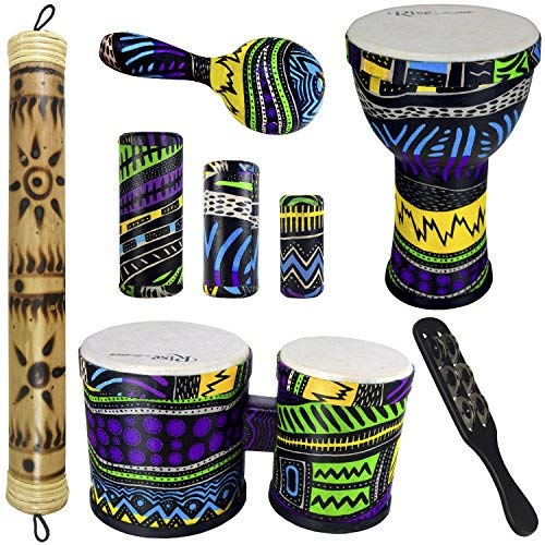 Rise by Sawtooth Jamaican Me Crazy Percussion Set with Djembe, Bongos, & Rain Stick by Sawtooth