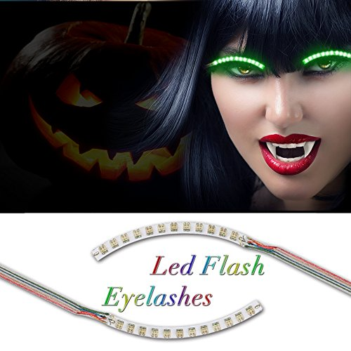 [Halloween Eyelashes, BMK LED False Lashes Waterproof Shining Eyeliner Luminous Eyelid Tape Unisex Glowing Fake Eye Lashes for Party Halloween Christmas Birthday Decorations Toys] (Current Halloween Costume Ideas)