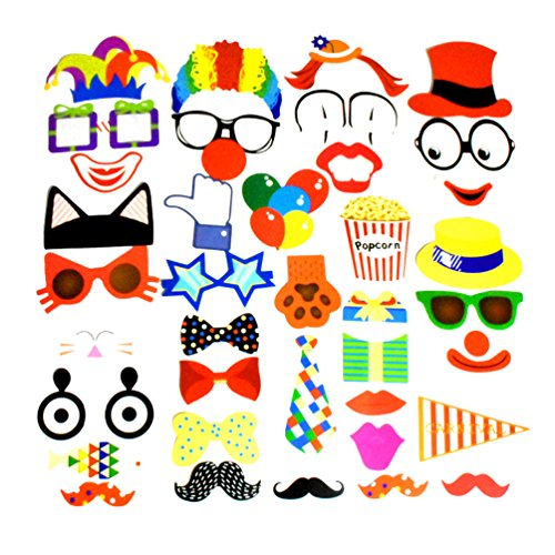 COOLOOdirect Attached Photo Booth Props Diy Kit For Party Favors for Wedding Birthday Carnival Bachelorette Dress-up Acessories 36 Pcs, Costume with Mustache, Glasses, Cat,