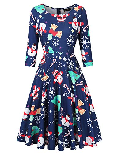 GloryStar Women's 3/4 Sleeve Christmas Dresses Vintage Cocktail Fit Flare A line Swing Dress Xmas Gifts Blue Christmas Tree XXL