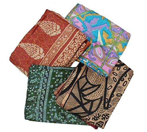 100% Pure Silk Saree Lot of 4 Vintage Fabric Multicolor Printed Decor Used Sarong Drape Indian Wholesale Sari 5YD