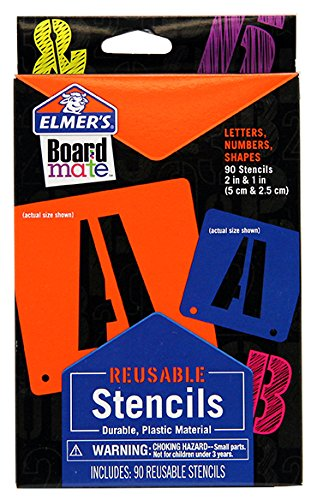 Elmer's Project Popperz Reusable Plastic Stencils, 2 Inch and 1 Inch, 90 Letters, Numbers and Shapes (E3062)