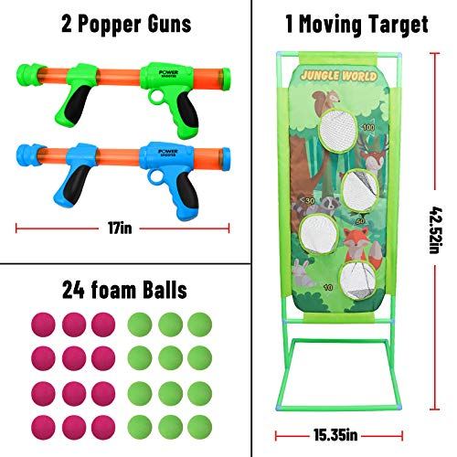 DeXop Shooting Game Toy for Kids 5 6 7 8 9 10+ Years Olds Boys and Girls Foam Balls Toy Gun Air Balls Shooting Game Blaster Toy Set Moving Indoor-Outdoor Activity Game for Kids Birthday Party Gift