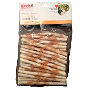 Boots & Barkley Chicken Wrapped Rawhide Twists – 45 Count Bag