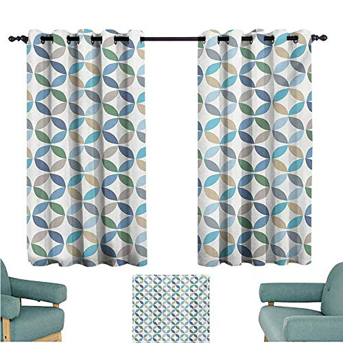 DONEECKL Sliding Curtains Geometric Circle Pastel Color Effects Oval Point Old Linked Stripes Contrast New Band Light Blocking Drapes with Liner W63 xL63 Pale Blue Green