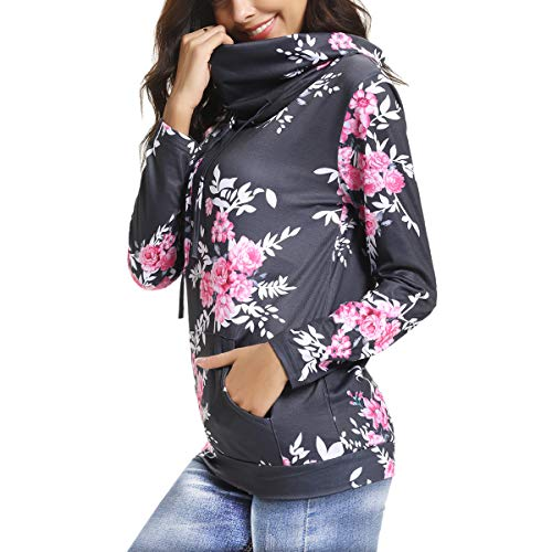 (M-anxiu Women Sweatshirt Casual Cowl Neck Floral Print with Front Pocket Drawstring Tunic Tops(Gray,)