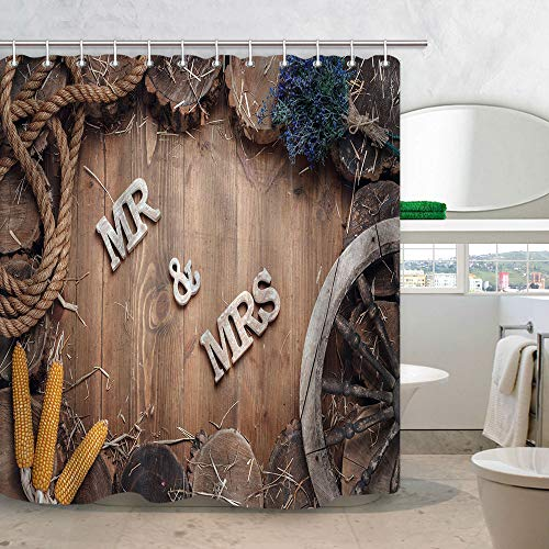 - KOTOM Rustic Wood Wallpaper Shower Curtain, Wedding Words Mr and Mrs in Frame of Stumps on Wooden Valentines Day, Fabric Bathroom Decor, 69X70 in Bath Curtains Accessories with Hooks