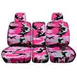 2009-2010 Ford F-150 Camo Truck Seat Covers (Front 40/20/40 Split Bench) with 2 Headrests & Opening Center Console/Solid Armrest: Pink Camouflage (16 Prints) F-Series F150