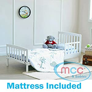 MCC White Solid Wooden Junior Toddler Kids Bed with Foam ...