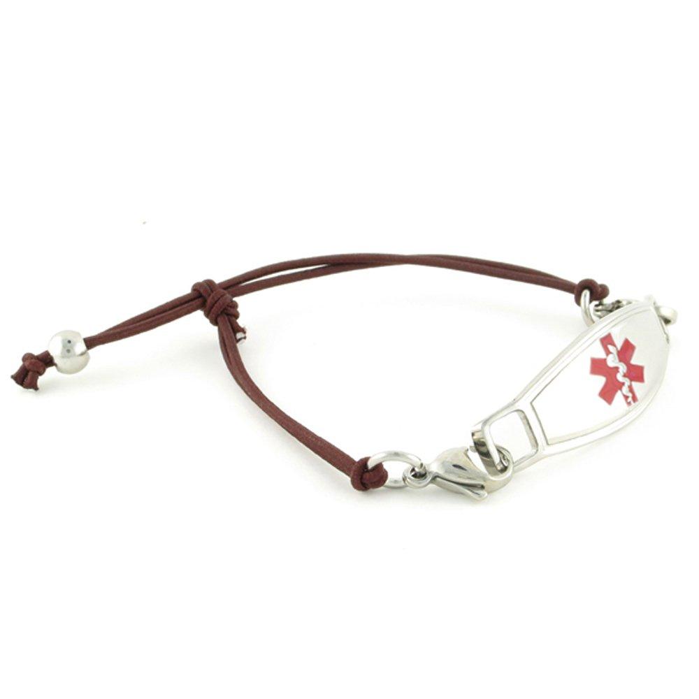 Women's Medical Alert ID Bracelet - Custom Engraving Included, Adjustable Size - Simplicity Mocha - Red