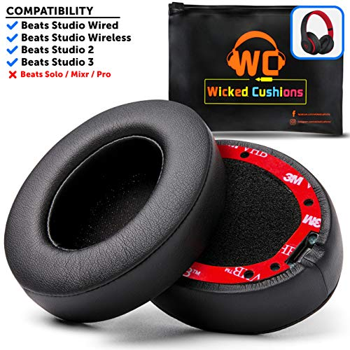 Best WC Premium Beats Studio Replacement Ear Pads by Wicked Cushions - Fits Studio 3 Wireless  Studio 2 Wired/Wireless - Memory Foam Adapts to Your Ears | Flawless Installation with Upgraded Adhesive