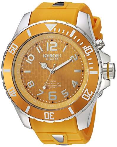 KYBOE! 'Power' Quartz Stainless Steel and Silicone Casual Watch, Color:Yellow (Model: SC.55-006.15)