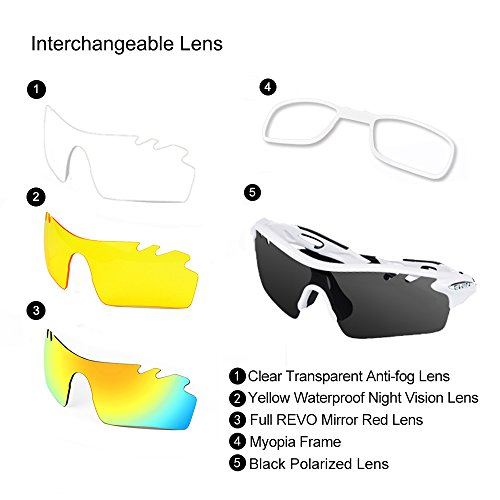 d4880e60b3 Amazon.com   Ewin E11 Polarized Sports Sunglasses with 4 Interchangeable  Lenses for Men Women Golf Baseball Volleyball Fishing Cycling Driving  Running ...