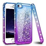 iPhone 5/5S/SE Case, Ruky Quicksand Series Glitter Liquid Floating Bling Diamond Colorful Flexible TPU Cute Case for Apple iPhone 5/5S/SE - Blue/Purple