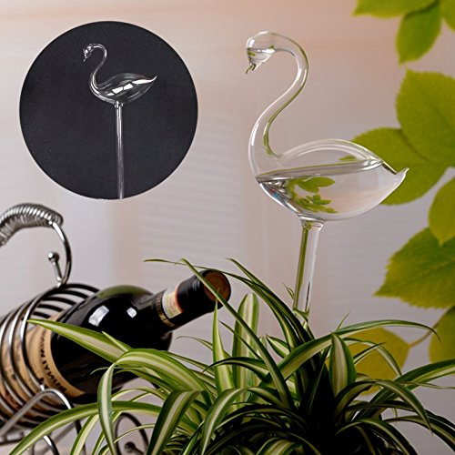 KICODE Self Watering Aqua Bulbs Hand-Blown Mini Glass Automatic Plant Waterer Flamingo Shaped