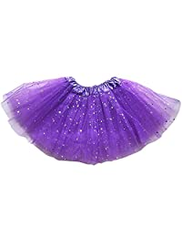 Polytree Girls Layered Sequins Sparkling Stars Ballet Dance Dress Tutu Skirt -Dark Purple