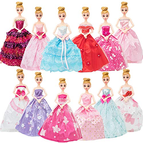 SOTOGO 12 Pieces Doll Clothes for Barbie Dolls Fashion Handmade Wedding Dresses Doll Clothes Evening Party Gowns Outfit - Little Girls Gift