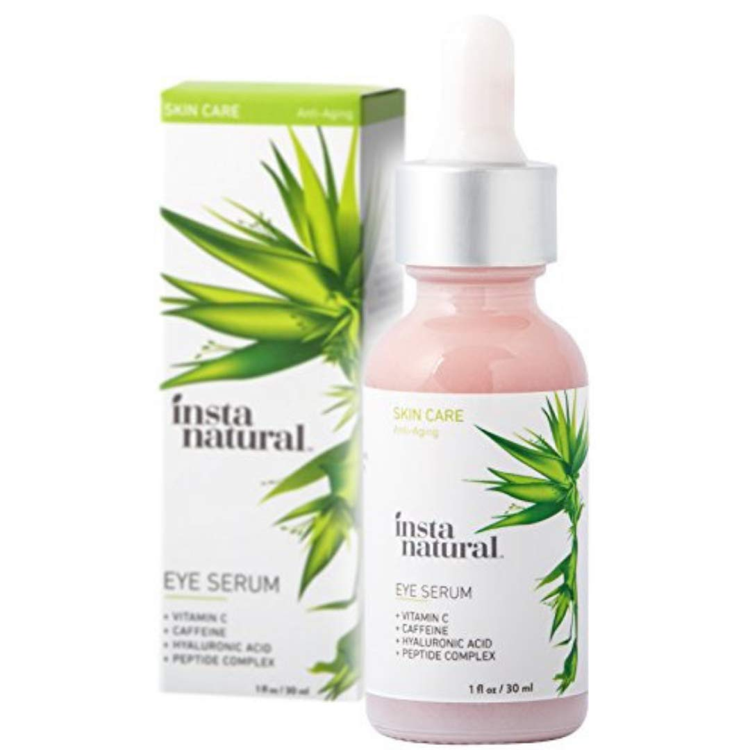 Eye Serum for Dark Circles & Puffiness - Reduces Bags, Wrinkles, Fine Lines, Sagging Skin & Puffy Eyes - With Vitamin C, Caffeine, Plant Stem Cells, Astaxanthin & Kojic Acid - InstaNatural - 1 oz by InstaNatural