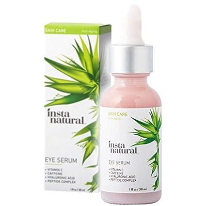 InstaNatural Sérum de Ojos - Para las ojeras y la hinchazón. Reduce bolsas, arrugas, líneas de expresión, piel flácida y ojos hinchados. Con vitamina ...
