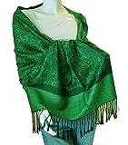 Elegant Paisley Jacquard Pashmina Scarf Wrap Stole (Green/Black(AL))