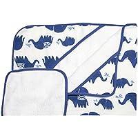 Little Unicorn Cotton Hooded Towel & Wash Cloth - Indie Elephant Set, Navy