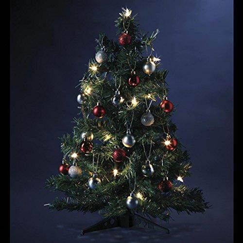 3 in 1 - Weihnachtsdekoration - Set Weihnachtsbaum + Lichterkette + Dekoration - Farben: Rot und Silber