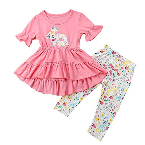 - Toddler Baby Girl Easter Outfits Ruffle Tops Dress Cartoon Rabbit Print Long Floral Pants Cotton Clothes Set (2-3 Years, Pink top Dress+Floral Pants)