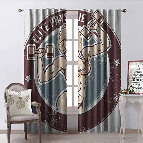 Gloria Johnson Fitness Blackout Curtain Retro Style Sexy Lady with Dumbbells Elite Physique Grunge Display 2 Panel Sets W52 x L72 Inch Chocolate Pale Pink Blue
