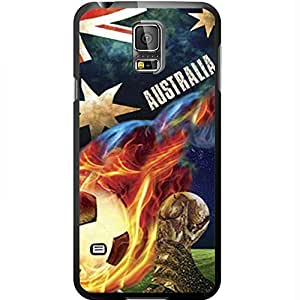 Blue, Red, and White Grunge Australia Team Flag with Colorful Fiery Soccer Ball Hard Snap on Phone Case (Galaxy s5 V)