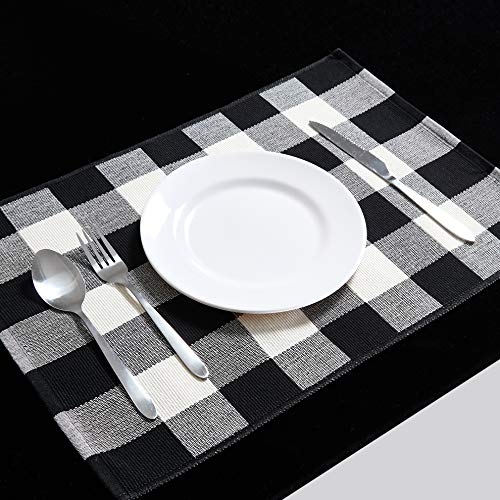 DOLOPL Buffalo Check Placemats Place Mat Black and White Placemats Fall Placemats Set of 4 Non-Slip Thicker Heat Resistant Washable for Halloween Christmas Dining Kitchen Table(Buffalo Check,12″x18″)