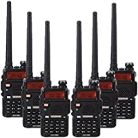BaoFeng 6PCS BF-UV5R 1.5 LCD 5W 136~174MHz / 400~470MHz Dual Band Walkie Talkie with 1-LED Flashlight Includes Rechargeable Battery (Black)