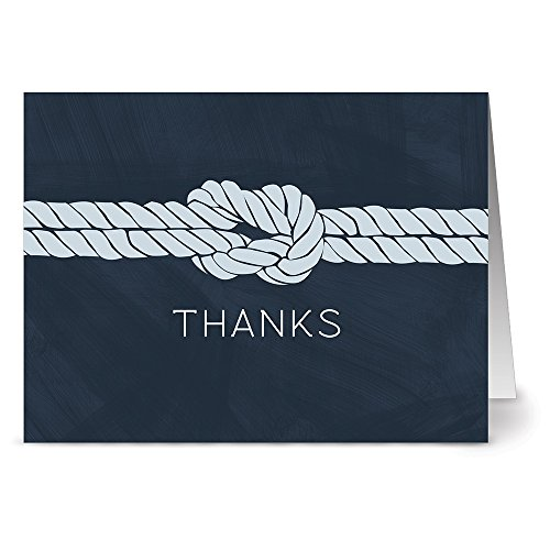 Nautical Knot - 36 Thank You Note Cards - Blank Cards - Gray Envelopes Included