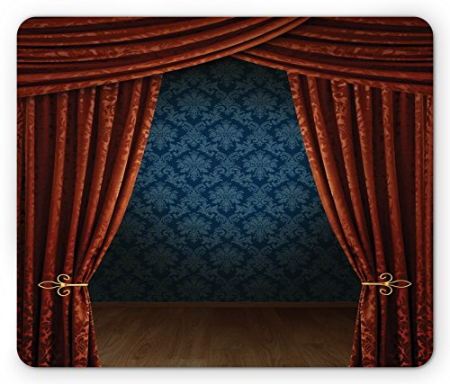 Ambesonne Victorian Mouse Pad, Grand Opening Showroom with Retro Pattern Wall Classic Stage Theatrical, Rectangle Non-Slip Rubber Mousepad, Standard Size, Burgundy Multicolor (Grande Grip Victorians)