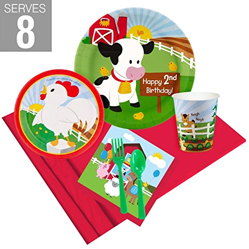 Barnyard 2nd Birthday Party Supplies Party Pack for 8 -