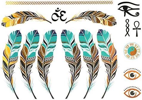 COKOHAPPY Metálico Temporales Tatuaje Pluma Feather Yin Yang Tai ...