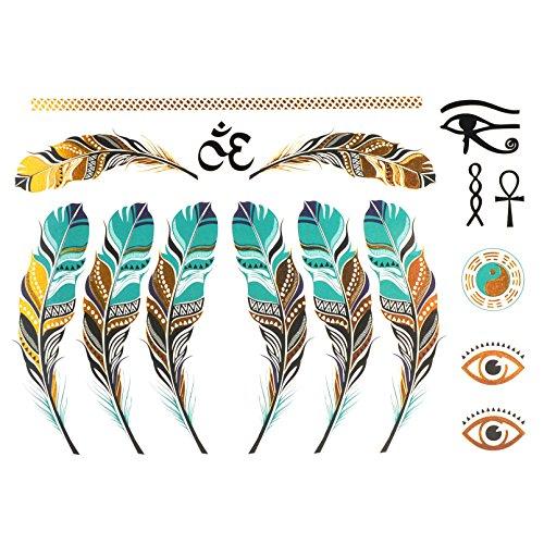 COKOHAPPY Metallic Temporary Tattoo , Feather Tai-Chi-Yin-Yang Ankh Cross Eye of Horus ()
