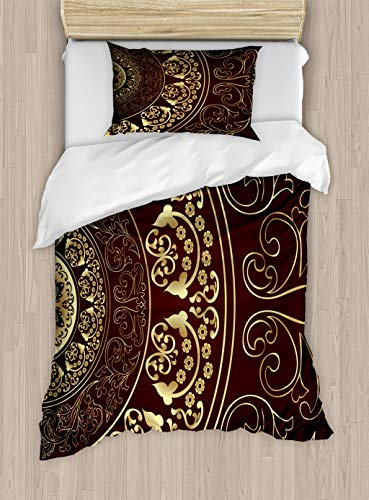 Ambesonne Mandala Duvet Cover Set Twin Size, Vintage Ethnic Asian Spiritual Cosmos Pattern with Swirled Floral Leaves Artwork, Decorative 2 Piece Bedding Set with 1 Pillow Sham, Burgundy Gold
