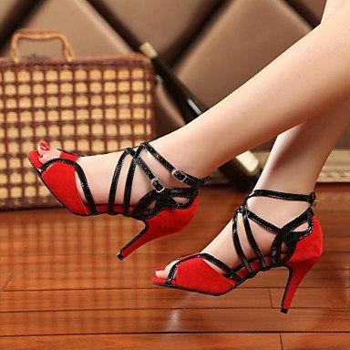 XIAMUO Nicht anpassbar - Die Frauen tanzen Schuhe Leder Leder Sekt Sekt Glitter Glitter Latin Swing Dance Schuhe Stiefel Sandalen Pumps, Rot, Us5.5/EU36/UK3.5/CN 35