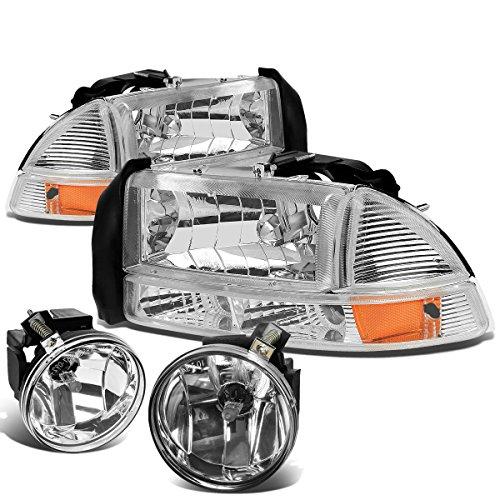 Dodge Dakota Headlight Corner Park (Dodge Dakota / Durango 4pcs Chrome Housing Amber Corner Headlights + Clear Lens Fog Lights)