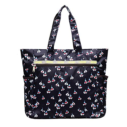 (Nylon Large Lightweight Tote Bag Shoulder Bag for Gym Hiking Picnic Travel Beach Waterproof Tote Bags (MiniFlower))
