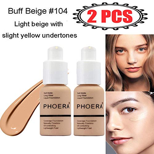 2Pcs Matte Oil Control Concealer Foundation Cream Concealer Cover Cream Long Lasting Moisturizing Base Liquid Foundation Flawless Colour Changing Foundation for women&girls(104)
