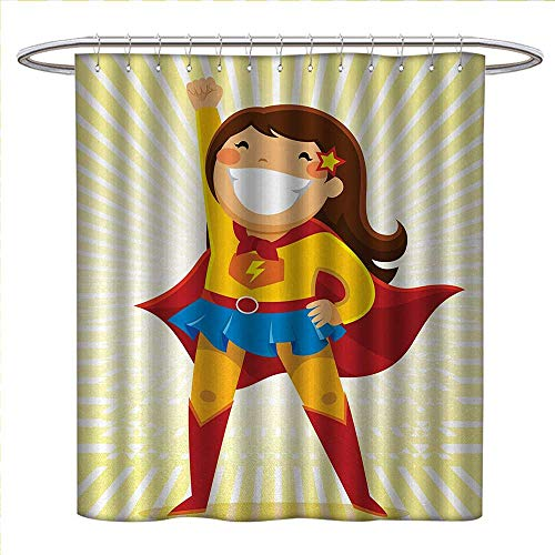 (Anniutwo Superhero Shower Curtain Customized Courageous Little Girl with a Big Smile in Costume Standing in a Heroic Position Patterned Shower Curtain W36 x L72)