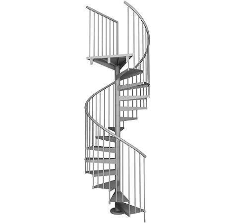 Idealkit TECNO. Escalera de caracol modular para interior de acero pintado. Para una altura de 231 cm. hasta 253 cm. (Diámetro 120 cm, Gris): Amazon.es: Bricolaje y herramientas