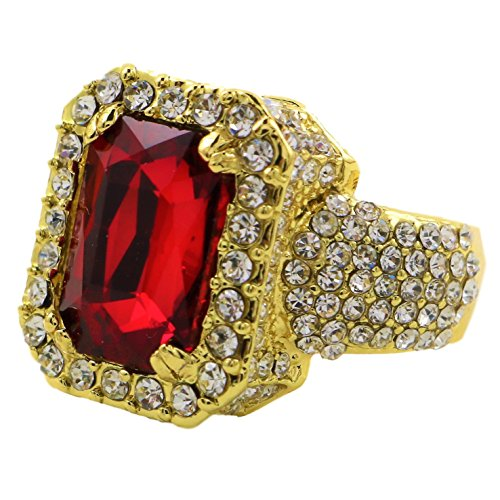 Iced Out 24k Gold Plated Red Ruby Hip Hop Ring With CZ Diamonds