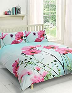 POPPY FLORAL PINK DUCK EGG BLUE CANADIAN QUEEN SIZE (230CM X 220CM - UK KING SIZE) COTTON BLEND DUVET COMFORTER COVER SET