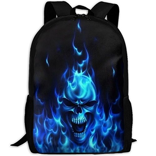 Travel Backpack Laptop Backpack - Flaming Blue Cool Skull Backpack School Backpack For Women & Men by SAPLA