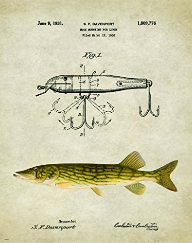 Antique Fly Fishing Lure US Patent Poster Art Print Northern Pike Smallmouth Bass Walleye Muskie Lures Poles 11x14 (Fishing Pole Picture)