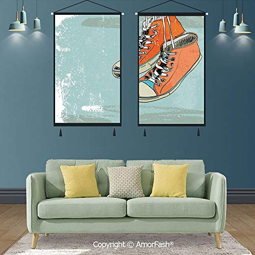 SCOXIXI Modern,Modern Salon Theme Abstract Still Life Wall Art for Home Decor,for Home Decor,Old Fashioned Punk Sports Shoes with Murky Grunge Effects Youth Graphic Art Decorative