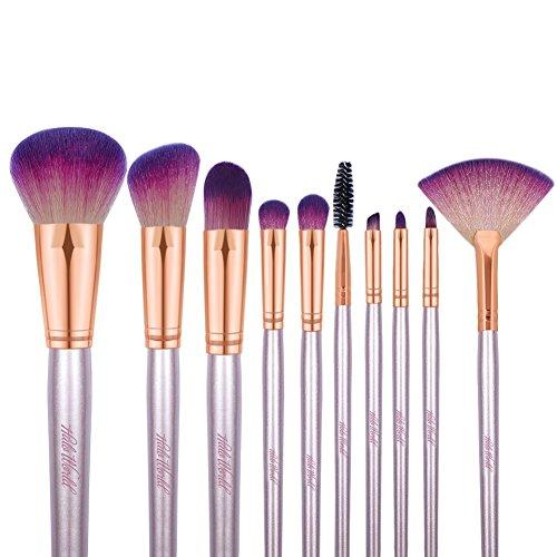 Halo World Cruelty Free Travel Makeup Brush Set 10 Piece Vegan Hair Makeup Brushes Fan Eyeshadow Brush Kit